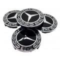 Mercedes 75mm fekete felni kupak 4db