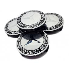 Mercedes 75mm fekete króm felni kupak 4db